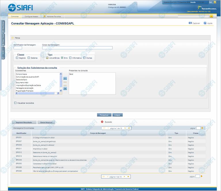 CONMSGAPL - Consultar Mensagens da Aplicação