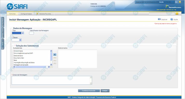 INCMSGAPL - Incluir Mensagens da Aplicação
