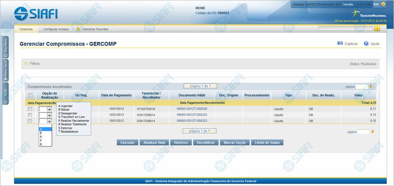 GERCOMP - Transferir Compromissos On-Line