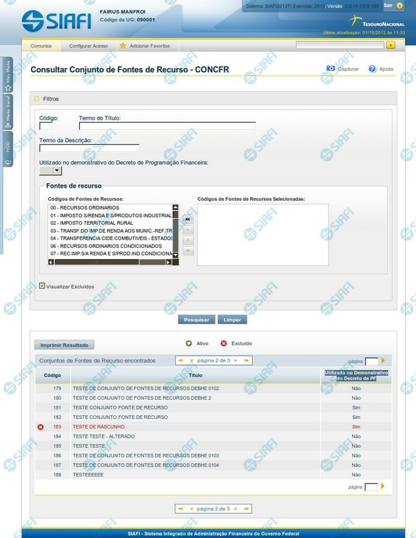 CONCFR - Consultar Conjunto de Fontes de Recurso