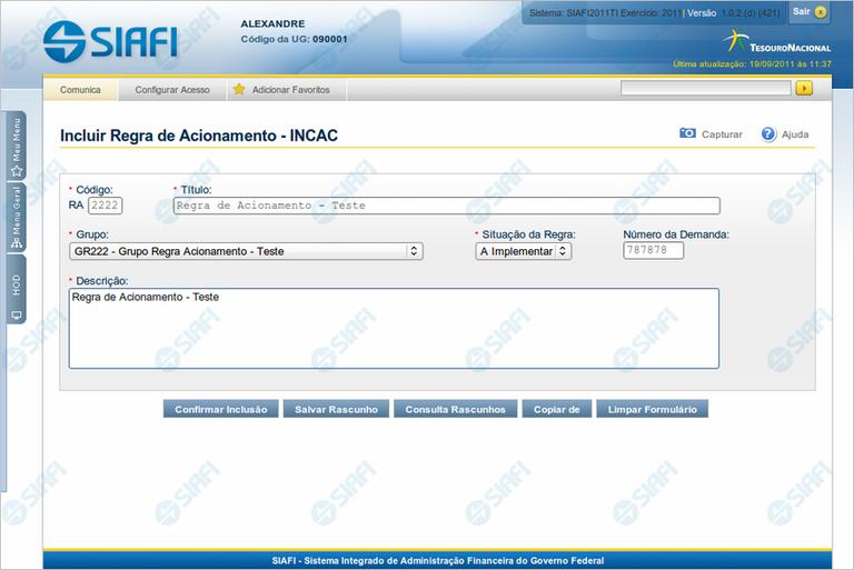 INCAC - Incluir Regra de Acionamento