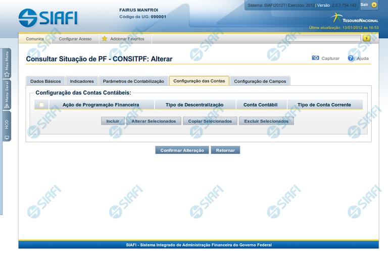 Alterar Situação de PF - Aba Configuração de Contas