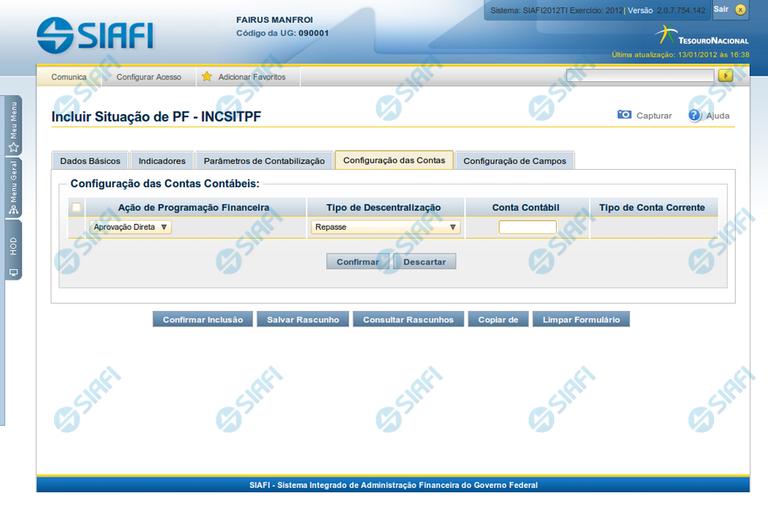 INCSITPF - Aba Configuração de Contas