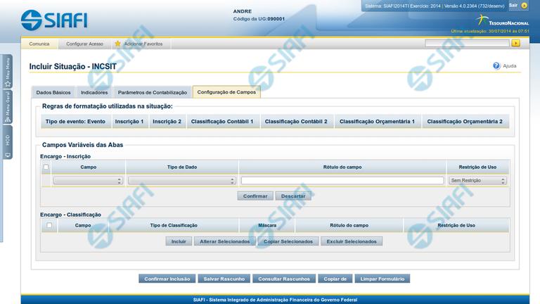 INCSIT - Aba Configuração de Campos