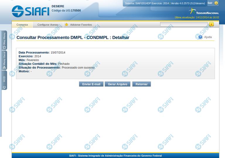 Consultar Resultado do Processamento da DMPL