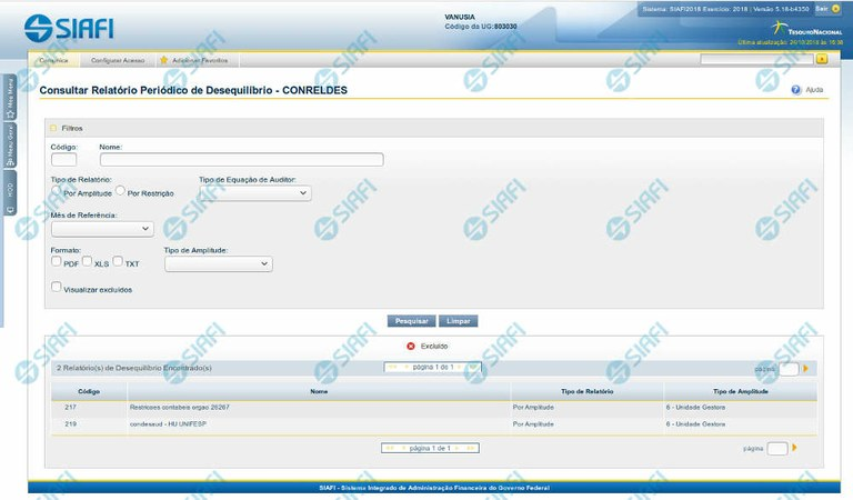 Consultar Relatório Periódico de Desequilíbrio - CONRELDES