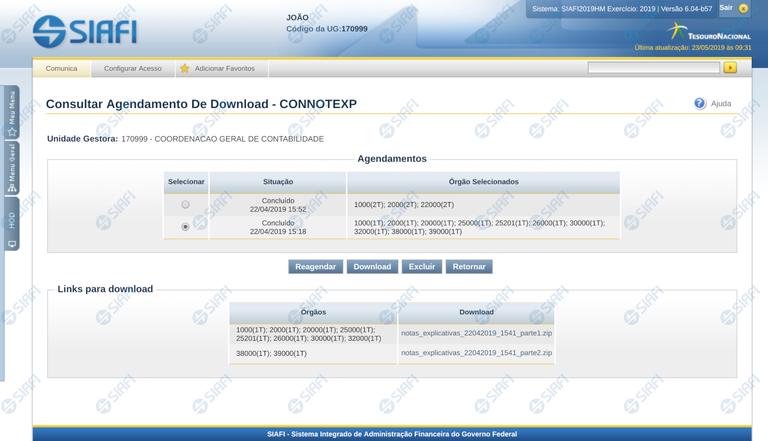 Consultar Agendamentos de Downloads de Notas Explicativas