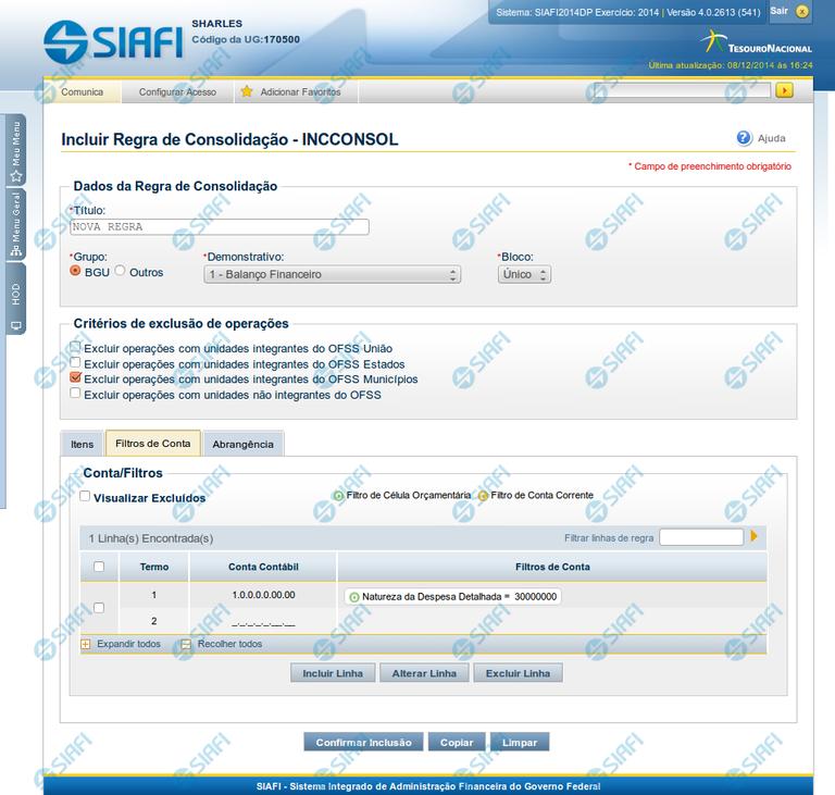 Incluir Regra de Consolidação - Aba: Filtros de Conta