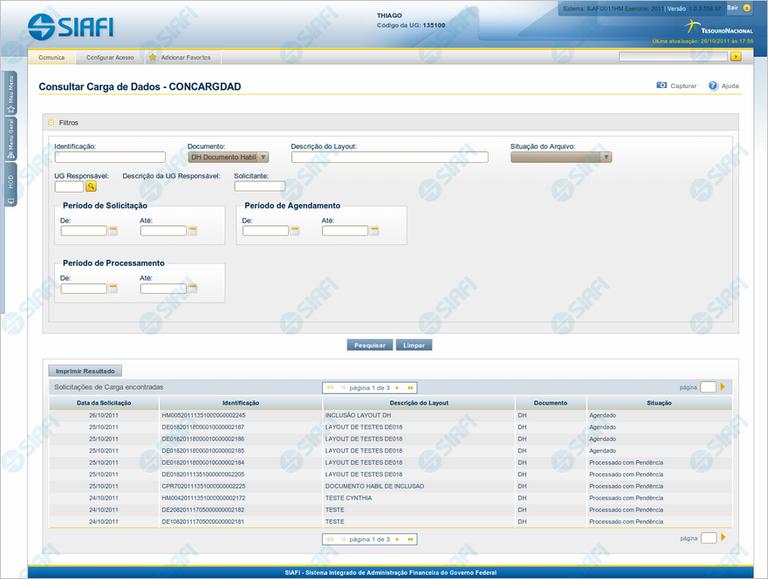 CONCARGDAD - Consultar Carga de Dados