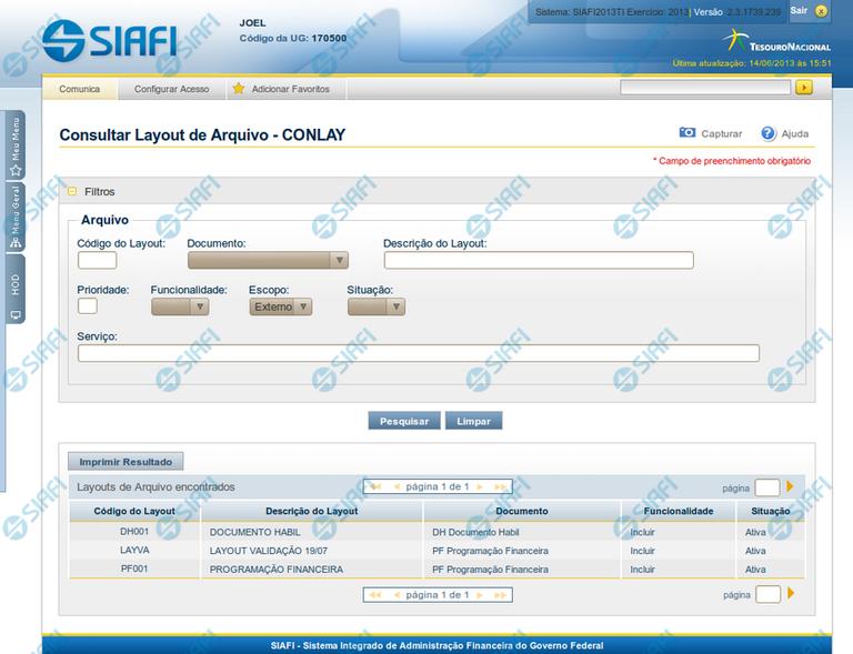 CONLAY - Consultar Layout de Arquivo