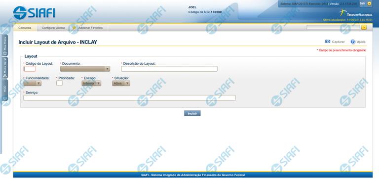 INCLAY - Incluir Layout de Arquivo