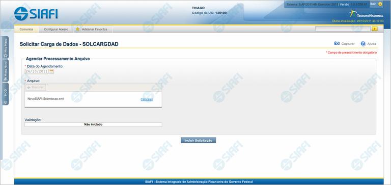 SOLCARGDAD - Solicitar Carga de Dados