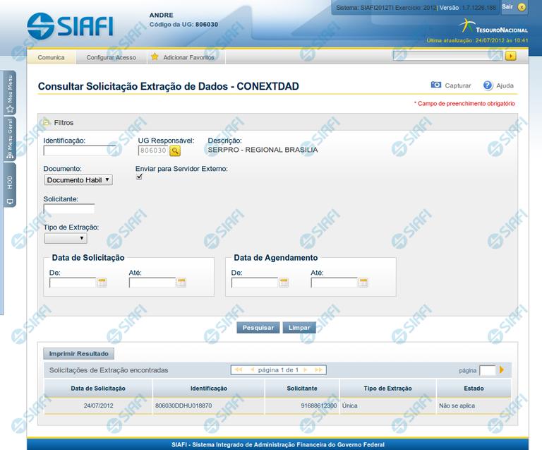 CONEXTDAD - Consultar Solicitação de Extração de Dados