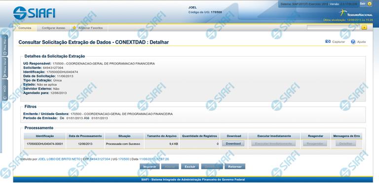 Detalhar Solicitação de Extração de Dados