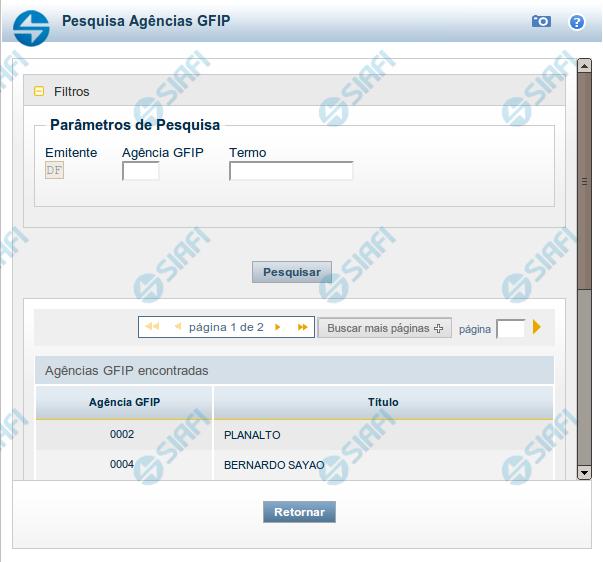 Pesquisa Agências GFIP