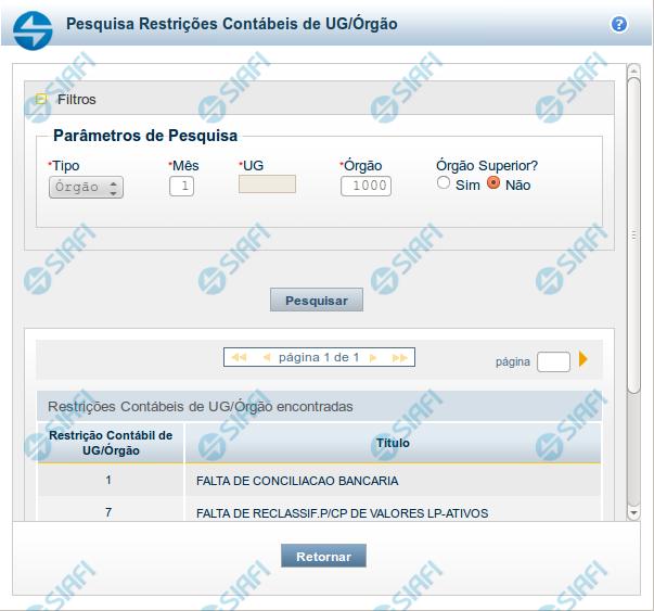 Pesquisa Restrições Contábeis de UG/Órgão