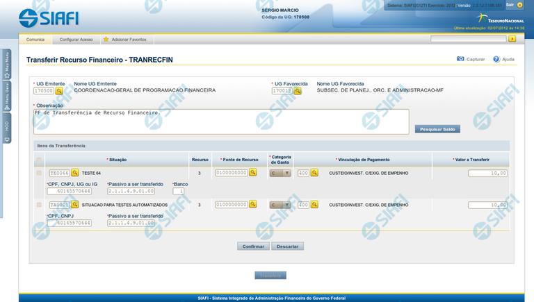 Transferir Recurso Financeiro - TRANRECFIN