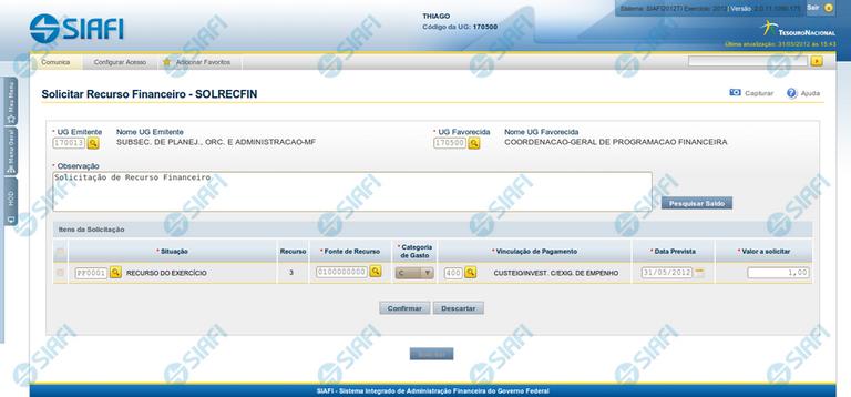 Solicitar Recurso Financeiro - SOLRECFIN