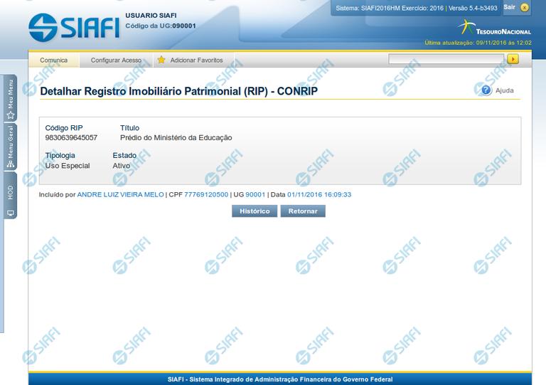 Detalhar Registro Imobiliário Patrimonial
